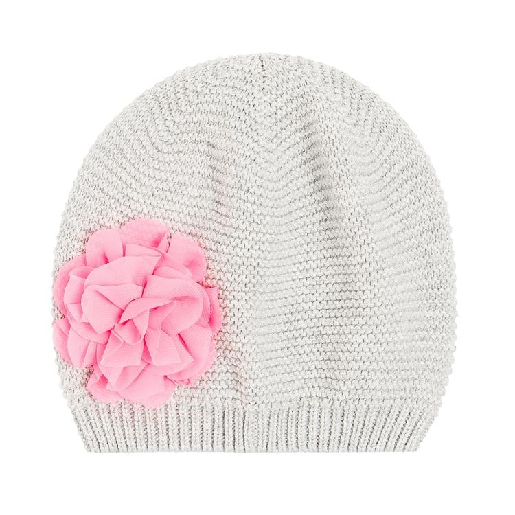 GIRLS HAT GRAY KNIT SALMON FLOWER