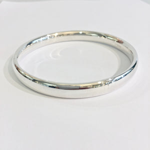 Silver Heavy Oval Wire Polished Bangle - WB5S