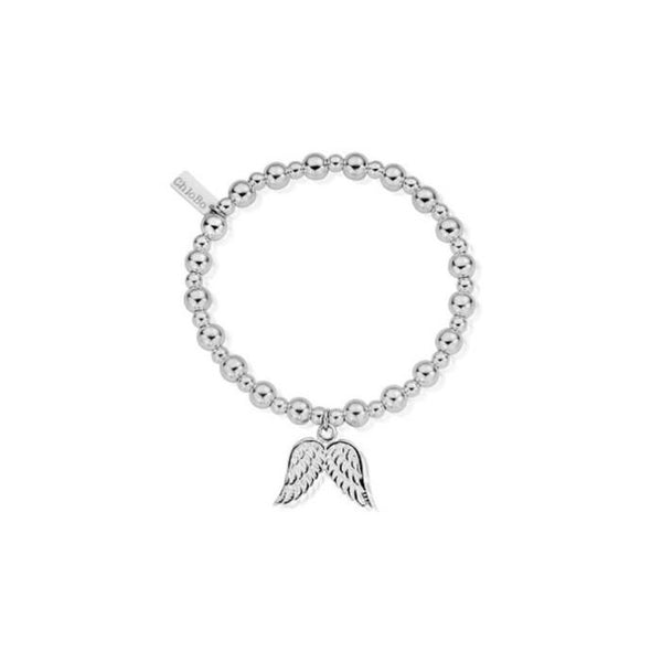 ChloBo Small Bead with Angel Wing Charm Silver Bracelet