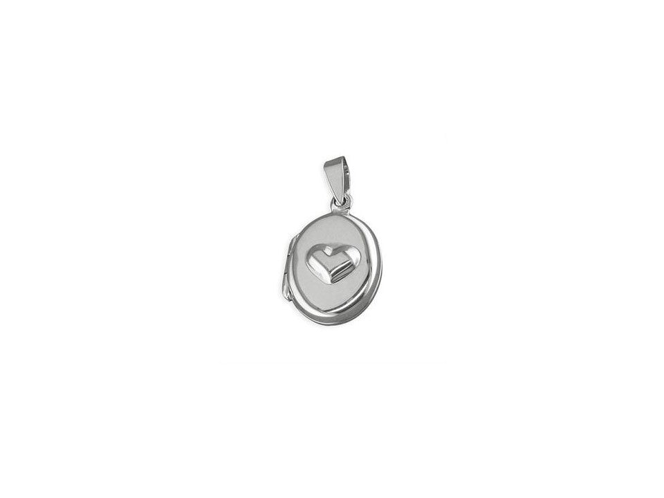 Sterling Silver Oval small Heart Locket Necklace