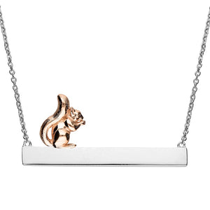 Sterling Silver & 18ct Rose Gold ID & Squirrel Necklace