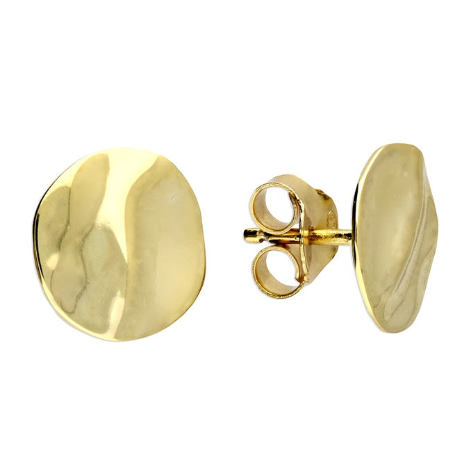 18ct Gold Plated Textured Disc Studs