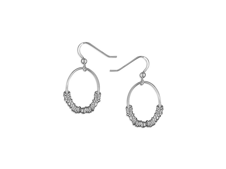 Sterling Silver Oval Sweetie Ring Hook-in Drop Earrings