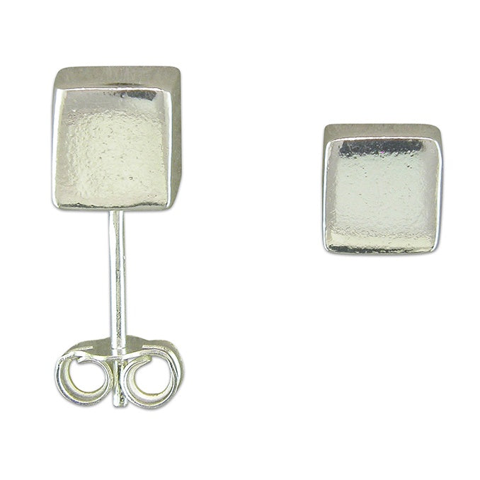 Sterling Silver Simple Cube Stud