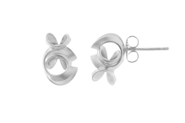Brushed Silver Squiggle Earring
