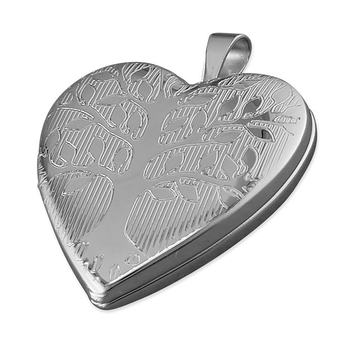 Rhodium Plated Heart Tree Of Life Locket Necklace