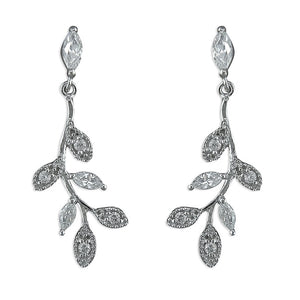 Sterling Silver Diamante Leaves on Branch Drops