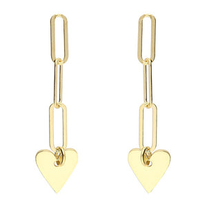 18ct Gold Plated Chain Link Drop Hearts