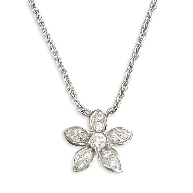 Sterling Silver Diamante Flower Necklace