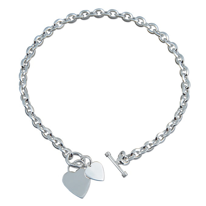 Sterling Silver Double Heart, T-Bar Necklace
