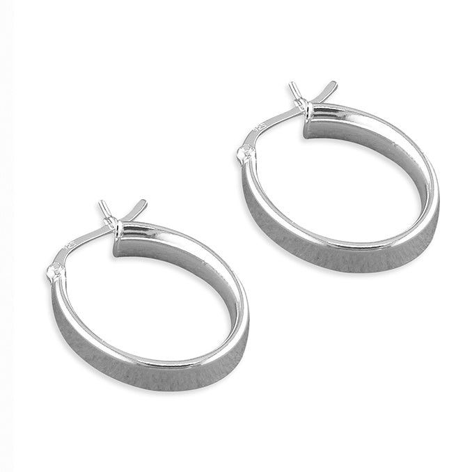 Sterling Silver Plain Oval Creole Hoops