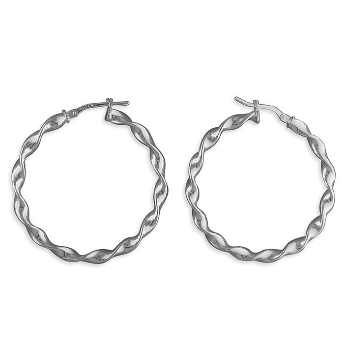 Sterling Silver Lightweight Twisted Hoops