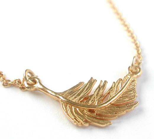 Alex Monroe Gold In-line Feather Necklace - TFN4/GP