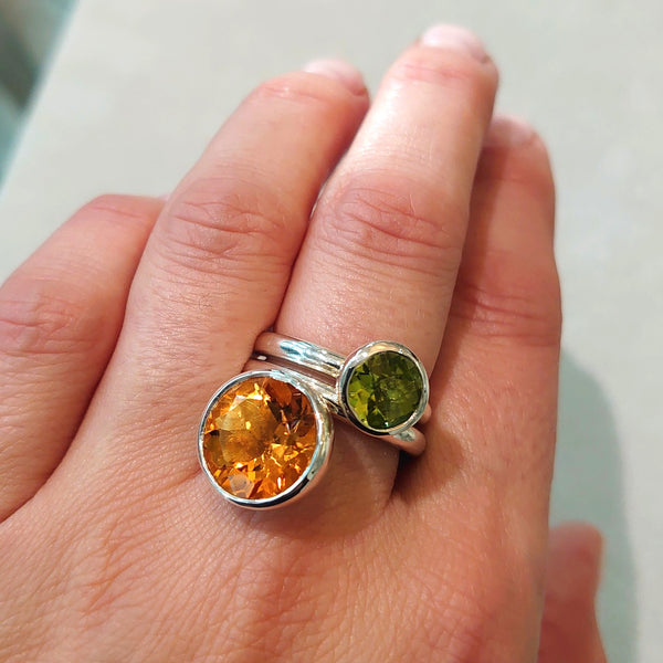 Silver 12mm Citrine Ring