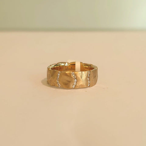 9ct Yellow Gold, 3 Channel Diamond Set Ring - DK29YG