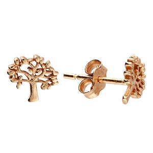 18ct Rose Gold Tree Of Life Studs
