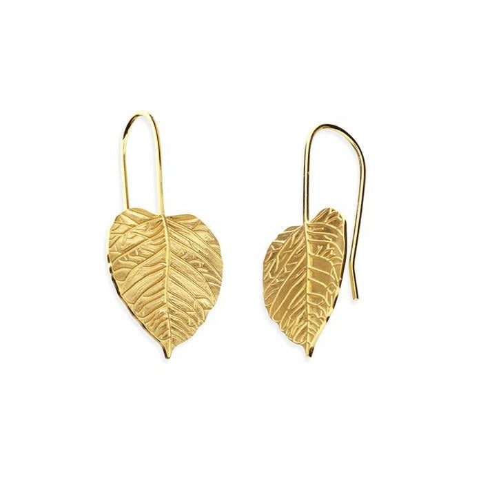 18ct Gold Plated Medium  Leaf Hook-in Earrings