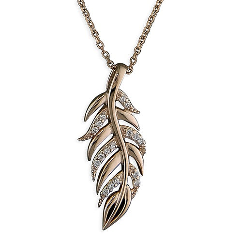 18ct Rose Gold Plated CZ Feather Necklace