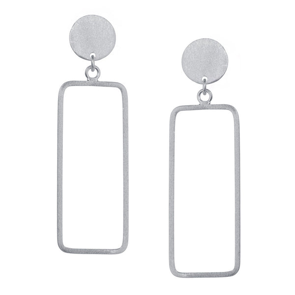 Silver Rectangular Earrings