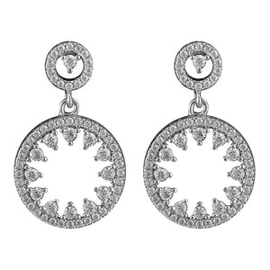 Sterling Silver Double Celestial Circle Drop Earrings
