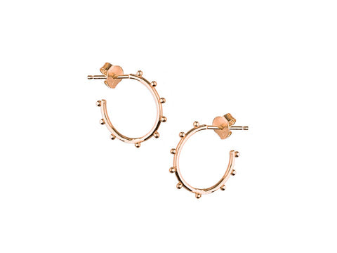 18ct Gold Beaded Stud Hoops