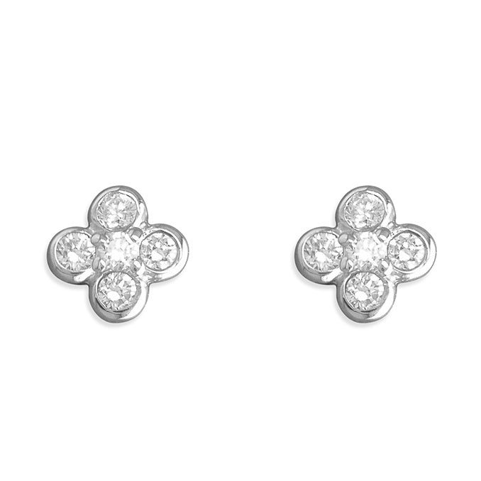 Sterling Silver Diamante Cross Studs