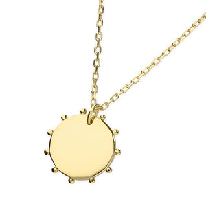 18ct Gold Plated small Bead Disc Necklace