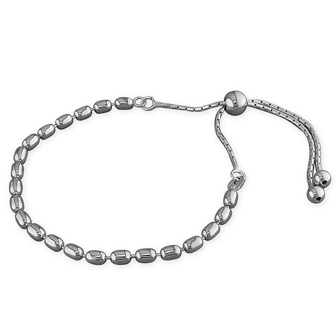 Rhodium Silver Plated Oval Bead Slider Bracelet