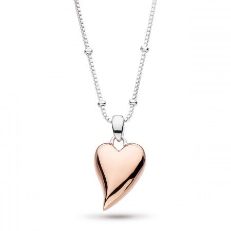 18ct Rose Gold Desire Lust Heart Ball Chain Necklace