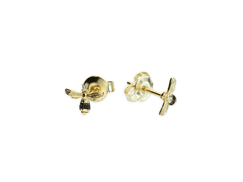 CZ Yellow Gold Bee Studs