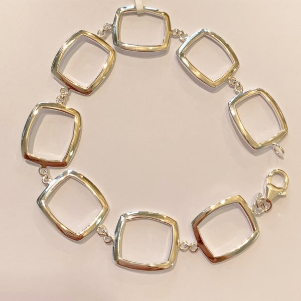 Sterling Silver Geometric Squares Bracelet