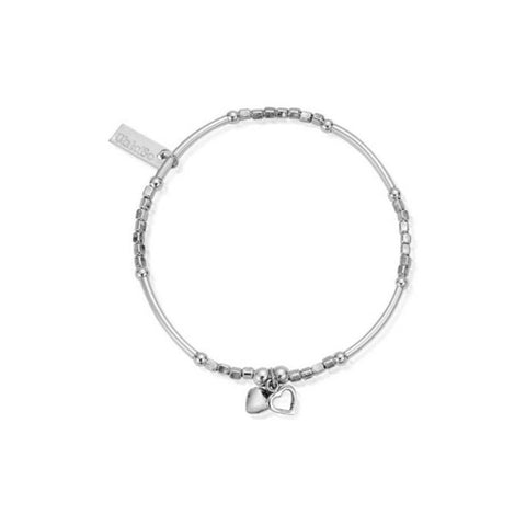 ChloBo Mini Noodle Cube with Double Heart Charm Silver