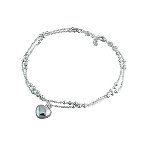 Double Chain & Puff Heart Anklet