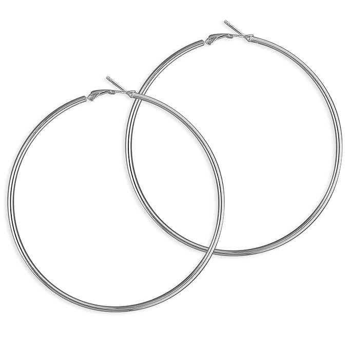 Sterling Silver Plain Hinged Hoops
