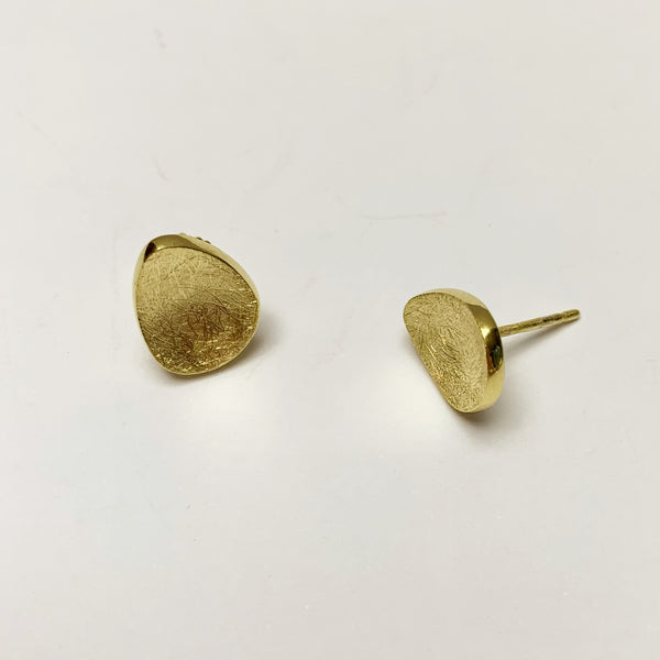 Brushed Gold Domed Organic Studs Earring