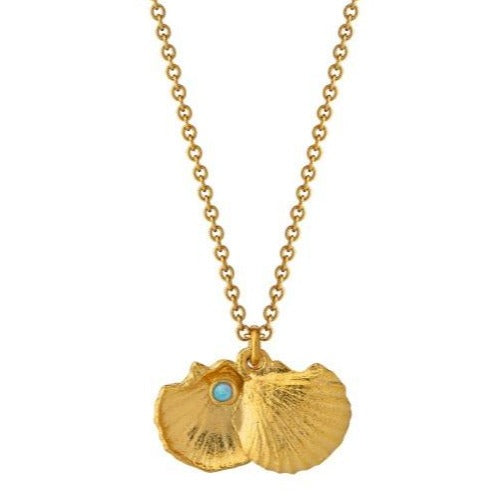 Alex Monroe Gold Open Shell with Opal Necklace - OCN6-GP