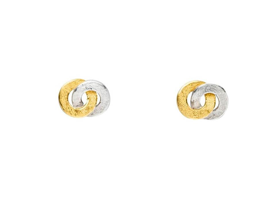 Silver & Gold Interlocking Loop Earrings
