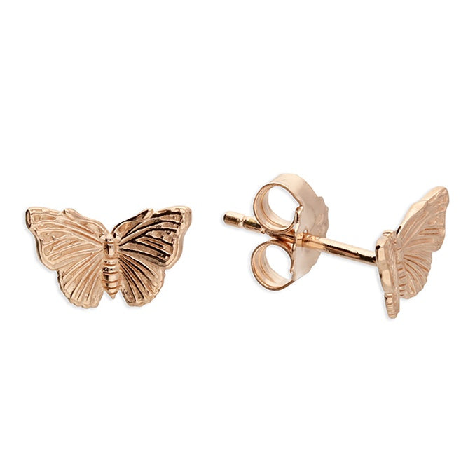 18ct Rose Gold Butterfly Studs