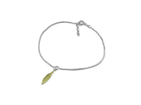Sterling Silver & 18ct Gold Plated Feather Anklet