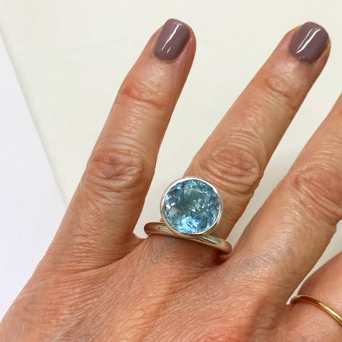 Silver 12mm Offset Bright Blue Topaz Ring