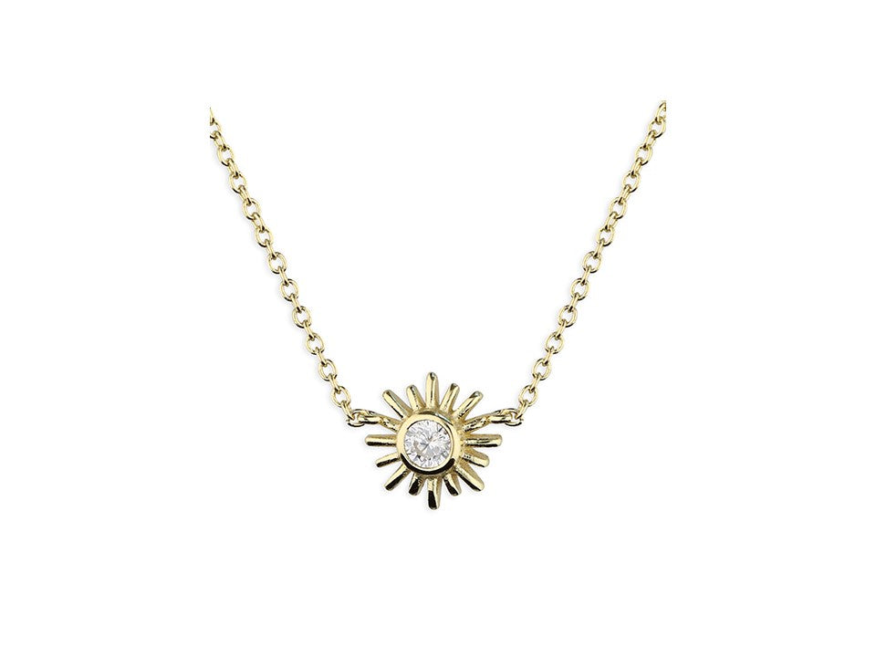 18ct Gold Plated Sparkly Golden Sun Necklace