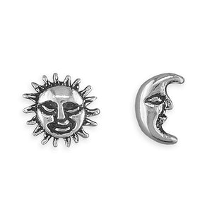 Sterling Silver Oxidised Sun And Moon Studs