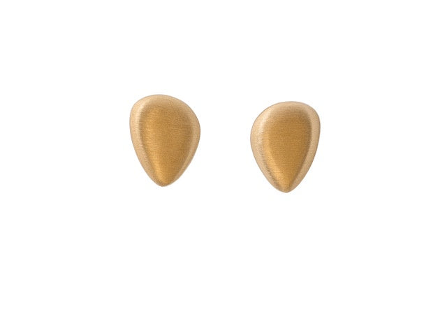 Brushed Gold Pebble Stud Earrings
