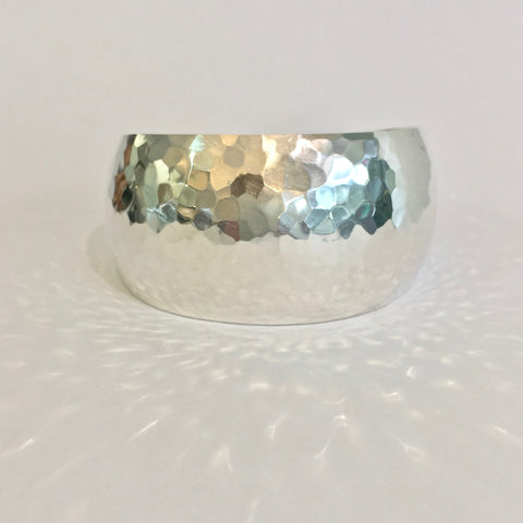 Silver 3.5cm Wide Hammered Domed Cuff - WB27S