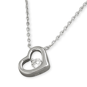 Sterling Silver Diamante Heart Outline Necklace