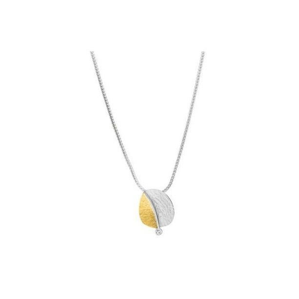 Silver & gold pendant necklace with 0.03ct diamond