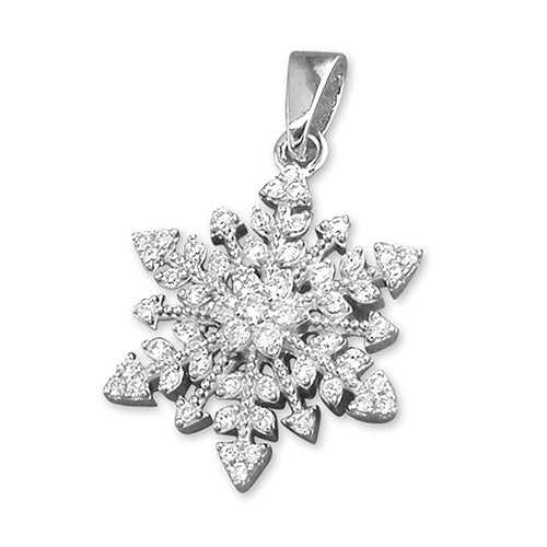 Sterling Silver Vintage diamante Snowflake Necklace