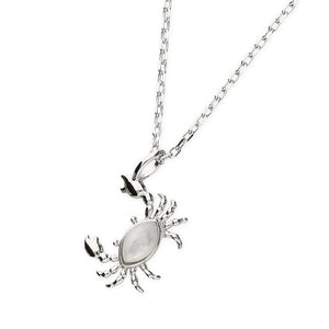 Sterling Silver Mother Of Pearl Crab Pendant Necklace