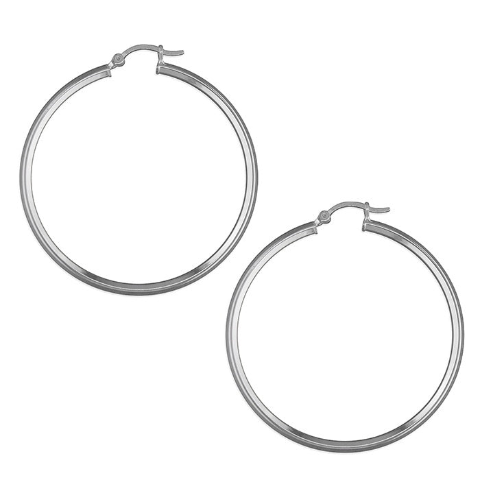 Sterling Silver Angled Tube Hinged Hoops