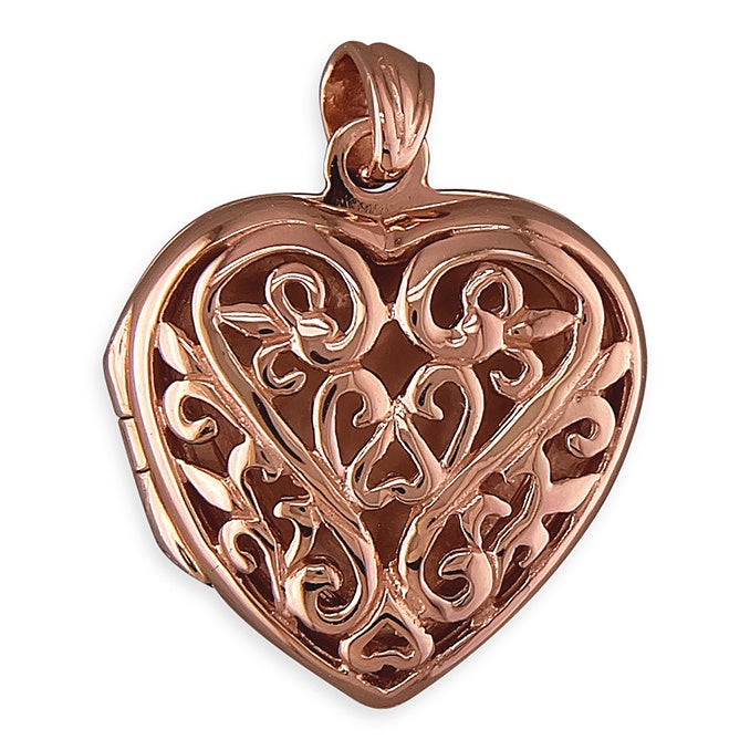 18ct Rose Gold Plated Filigree Heart